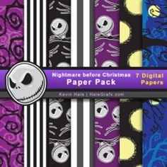 FREE Nightmare Before Christmas Digital Paper Pack ishareprintables.com