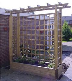 Pergola Garden Planter - Wooden Framed Arch Planter - Wooden Garden Planters way to add shade w/out attaching to house or deck. build a couple and stretch shade cloth over Pergola Planter, Privacy Planter, Backyard Pergola, Patio Privacy, Pergola Ideas, Pergola Kits, Privacy Screens, Privacy Trellis, Pergola Screens