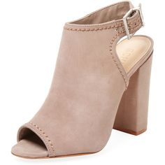 Schutz Women's Hermina Peep-Toe Nubuck Bootie - Cream/Tan - Size 10 ($119) ❤ liked on Polyvore featuring shoes, boots, ankle booties, tan booties, peep-toe ankle booties, high heel booties, peep toe boots and tan high heel boots