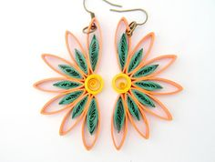 Half Sunflower Paper Quilled Earrings in Coral by FiligreeDelights