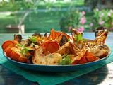 Grilled Lobster Tails with Lemon-Red Fresno Butter Recipe -Courtesy Bobby Flay on Food Network