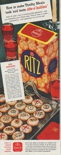 """Description: 1942 RITZ vintage print advertisement """"How to make Thrifty Meals look and taste like a million"""" """"Ritz Appetizers -- Thin cheese with cream and beat to smooth consistency. Season with grated onion and Worcestershire."""""""