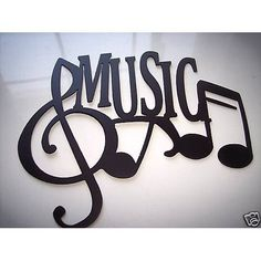 Music Word With Notes Metal Wall art Music / por sayitallonthewall