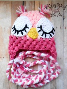 Crochet Girl Owl Hat  Newborn  Photo Prop  by Whimsystitchbysarah, $25.00