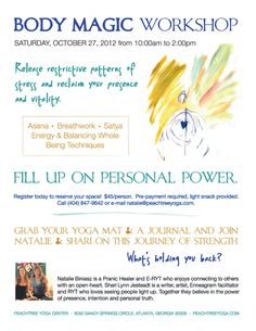 Body Magic Workshop - Oct 27 at Peachtree Yoga.  Only a few spots left!  $45