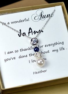 Gift for Aunt , Bride Groom Mother Gifts ,Mothers day jewelry , pearl bridal jewelry , white cream blue necklace,blue necklace&box and card