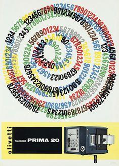 Poster designed by Giovanni Pintori for the Olivetti Prima 20 - 1957
