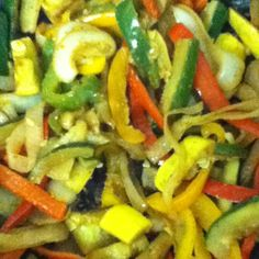 Zuchinni peppers onions and squash stir fry