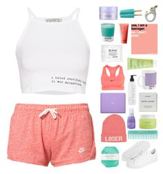 """""""atheletic"""" by aria-97 ❤ liked on Polyvore featuring Byredo, Pelle, NIKE, W2 Products, Alterna, Zoya, Pantone, St. Tropez, Pull&Bear and Rodial"""