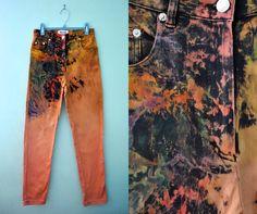 Vintage 80s 90s High Waist Jeans Bleached Black Peach Orange Multicolor Distressed Studded Skinny Pants / Size 24 25 US 0. $50.00, via Etsy.