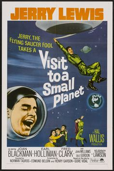 Visit to a Small Planet (1960) Stars: Jerry Lewis, Joan Blackman, Earl Holliman, Fred Clark, Ellen Corby ~ Director: Norman Taurog (Nominated for an Oscar for Best Art Direction-Set Decoration, Black-and-White 1961) (Re-Release Poster 1966)