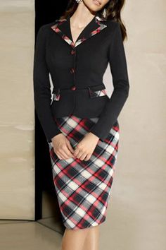 Vintage Notched Long Sleeve Plaid Faux Twinset Dress For Women