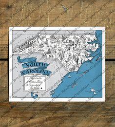 North Carolina, NC, United States map Digital Download - printable ready for art craft project: printing, framing, pillows, totes & cards - fun