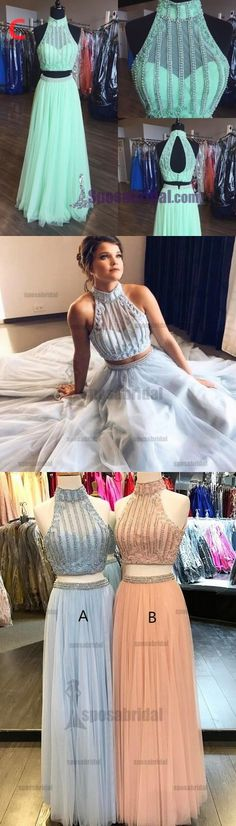Two Pieces High Neck Sleeveless Fashion Charming Sky Blue Beading Gorgeous Prom Dresses, PD0543
