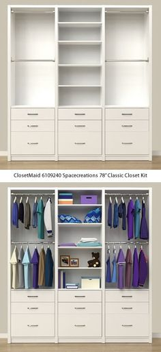Closet Organizers 497436721339154044 - ClosetMaid 6109240 Spacecreations Classic Closet Kit – ClosetMaid Spacecreations Closet Organizers – Get Decluttered Now! Source by Wardrobe Room, Wardrobe Design Bedroom, Closet Bedroom, Bedroom Decor, Entryway Closet, Bedroom Cupboard Designs, Bedroom Cupboards, Girl Bedroom Designs, Closet Renovation