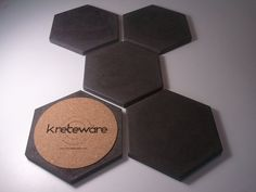 Kreteware Drink Coaster HEX Set made of concrete raw by kreteware, $29.95
