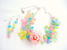 Pastel Rose Necklace, Neon Bead Necklace, Jewelry Set Pastel, Neon Pastel Earrings, Pink Rose Necklace, Matching Jewelry Set, Lucite Jewelry...