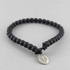 Mens black wooden beaded leather cord bracelet with tibetan silver cross charm fastening