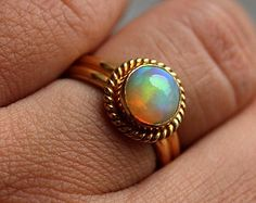 18K Gold Opal ring Natural Opal Ring Engagement by Studio1980