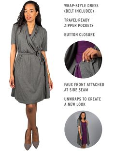 Frequent-flier-friendly dress that's two looks in one! Unwraps in a flash to create a layered cardigan-dress ensemble.