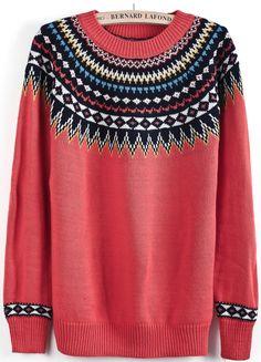 Red Long Sleeve Vintage Floral Sweater US$26.62