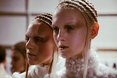 Cold, metallic make up and precise cornrows at Alexander McQueen AW14 PFW. More images at: http://www.dazeddigital.com/fashionweek/womenswear/aw14