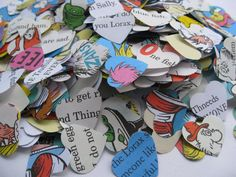 "1500 DR. SEUSS Hearts. 1"" Die Cut Confetti Hearts. Other Amounts Available. Custom Orders Welcome."