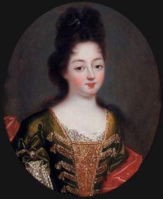 Oval portrait of Louise Françoise de Bourbon, Duchess of Bourbon (daughter of Louis XIV) by ? (location unknown to gogm) | Grand Ladies | gogm