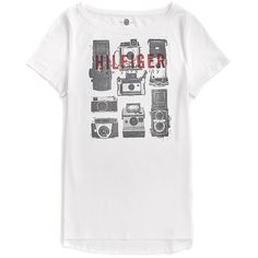 Tommy Hilfiger Camera Graphic Tee ($30) ❤ liked on Polyvore featuring tops, t-shirts, graphic design t shirts, graphic tops, white tops, white cotton tops and tommy hilfiger t shirts