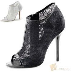 High Heels Pumps 12,5cm D Orsay Stilettos Abendschuhe Italy Spitze Creme