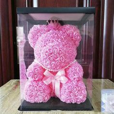 Modest Cute Pe Rose Bear Toy Women Girls Flower Birthday Wedding Decoration Party Doll Toy Anniversary Valentine Gift For Girl Friend Artificial & Dried Flowers