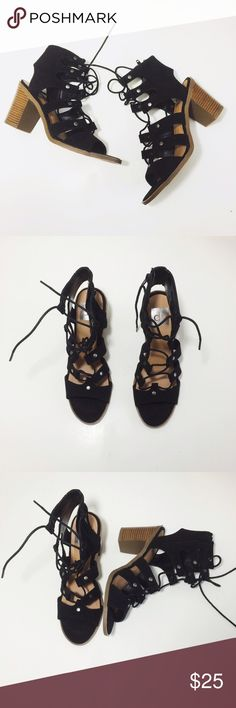 DV | for target | black heeled lace up shoes Brand : DV for target / Size : 7.5 / Condition : perfect condition; NWOT • zipper at side • tts • 3in heel DV by Dolce Vita Shoes Sandals