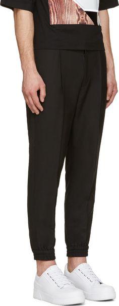 Juun.J Black Pleated Grosgrain-Trimmed Lounge Pants