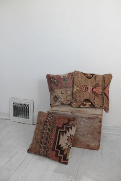 Vintage Hand Woven Kilim Pillow Stuffed 16 by vauxvintage on Etsy