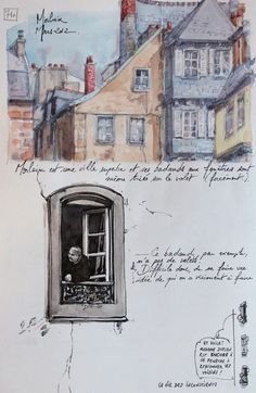 French blog. Interesting journal page style with whimsical sketches tiny cartoons.