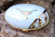 Oval Hinged Trinket Box with Gold by ekwpaintedtreasure on Etsy, $34.95