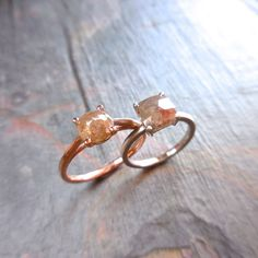 IN LOVE !Custom Rose Cut Prong Diamond Ring - Made to order, 14 k Gold, Cushion and Oval, Rose cut Diamond, Engagement, Handmade, Raw, Stacking