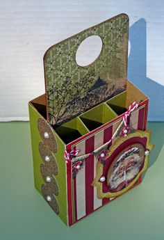 Scor-pal: Six Pack box by Lori Williams This is a great little carrier/box for to hold a gift kit, ex: manicure goodies, hot cocoa, or multiple candies.