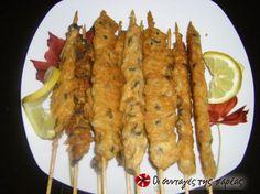 Μύδια Σουβλάκι #sintagespareas Greek Cooking, Fish And Seafood, Sweet Recipes, Shrimp, Sausage, Menu, Chicken, Kitchens, Menu Board Design