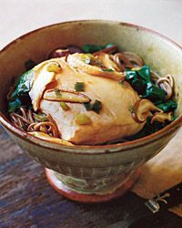 Salmon and Whole-Wheat Noodles in Ginger Broth Recipe from Food & Wine