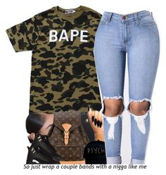 """""""- I'm way up, I feel blessed ✨"""" by beautiful-sinnerr ❤ liked on Polyvore featuring A BATHING APE and Louis Vuitton"""