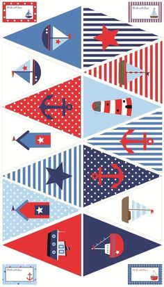 Ideas for baby shower decoracion marinero birthday party ideas Sailor Birthday, Sailor Party, Sailor Theme, Nautical Bunting, Nautical Party, Bunting Flags, Buntings, Nautical Prints, Baby Shower Marinero