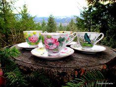 Kasuga Ware Birthday Floral Series Tea Cups  4 by HeartSmileFarms