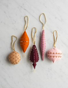 Beads + Sequins for Purl Soho's Heirloom Wool Ornaments Pattern Noel Christmas, Winter Christmas, Christmas Ornaments, Crochet Christmas, Ornament Pattern, Diy Weihnachten, Felt Ornaments, Fabric Ornaments, Xmas Decorations
