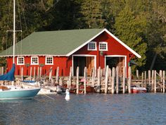 Red boathouse photo by Georgie Haupt Kester.