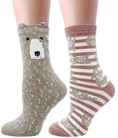 LITTONE Women's Cozy Cotton Cartoon Crew Novelty Socks 2 Pairs Crazy Socks, Novelty Socks, Perfect Wardrobe, Woodland Creatures, Cotton Socks, Cool Patterns, Cozy, Pairs, Cartoon
