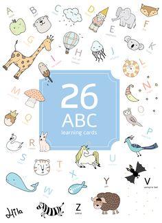 גלויות ללימוד אותיות באנגלית English Abc, Learning Cards, Vampire Bat, Ox, Rabbit, Bear, Comics, Illustration, Bunny