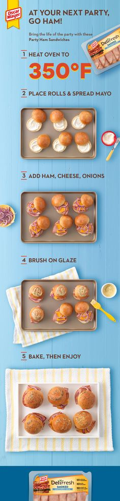 Go HAM with Party Ham Sandwiches. These mini party ham sandwiches have oven-baked flavor and are super easy to assemble. Deli Fresh, Fresh Ham, Lunch Snacks, Healthy Snacks, Sandwiches, Oscar Mayer, Snacks Saludables, Good Food, Yummy Food