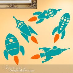 Five Retro Buck Rogers Type Rocket Ships Vinyl Wall by Twistmo @twistmodecals @Lori Lee Bowles Sampson