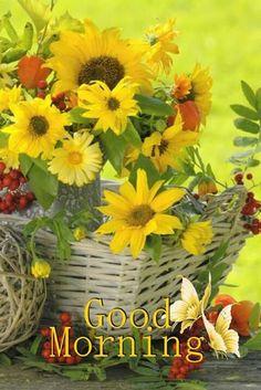 Flowers in a basket .